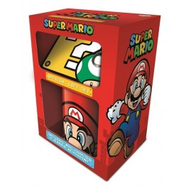 Super Mario, Zestaw prezentowy: kubek, podkładka, brelok do kluczy (nowy)